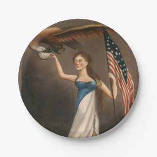 Liberty Woman Eagle American Flag USA Oil Painting 7 Inch Paper Plate