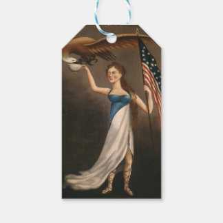 Liberty Woman Eagle American Flag USA Oil Painting Gift Tags
