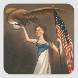 Liberty Woman Eagle American Flag USA Oil Painting Square Sticker