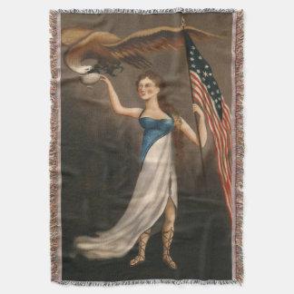 Liberty Woman Eagle American Flag USA Oil Painting Throw Blanket