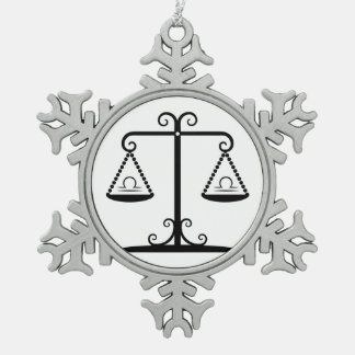 libra balance scales zodiac astrology horoscope pewter snowflake ornament