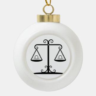 libra balance scales zodiac astrology horoscope ceramic ball ornament