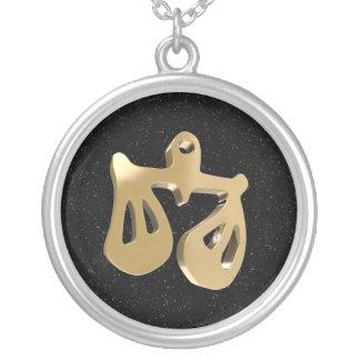 Libra, Bilancia Round Pendant Necklace