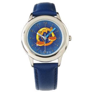 Libra blue yellow wrist watch