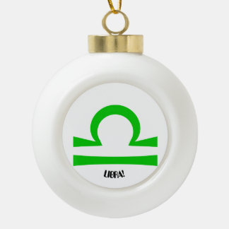 Libra Ceramic Ball Christmas Ornament