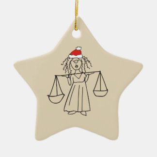 Libra Christmas Funny Astrology Sign Red Star Cool Ceramic Ornament