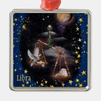 Libra Silver-Colored Square Decoration
