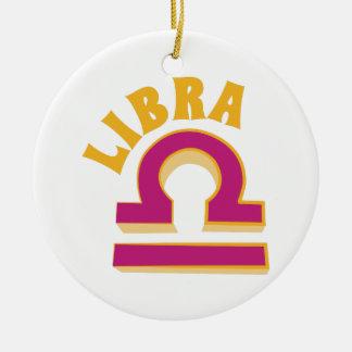 Libra Round Ceramic Ornament