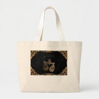 Libra golden sign large tote bag