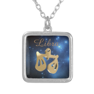 Libra golden sign square pendant necklace
