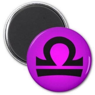 Libra Horoscope Sign Magenta Purple 6 Cm Round Magnet
