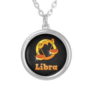 Libra illustration silver plated necklace