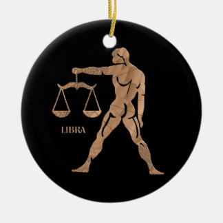 Libra Muscle Man Scales Zodiac Double-Sided Ceramic Round Christmas Ornament