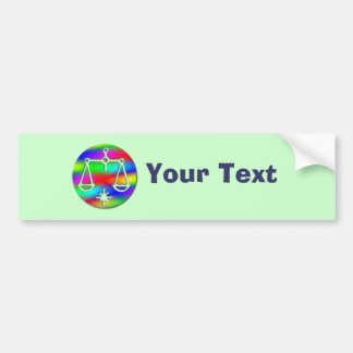 Libra Rainbow Scales Zodiac Star Sign Bumper Sticker