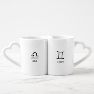Libra scales and Gemini Twins Zodiacs Astrology Coffee Mug Set