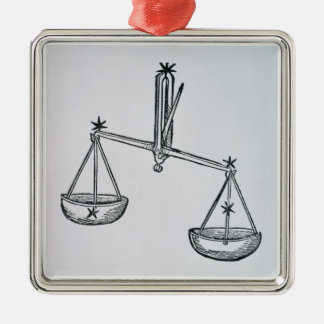 Libra (the Scales) an illustration from the 'Poeti Silver-Colored Square Decoration