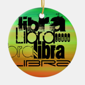 Libra; Vibrant Green, Orange, & Yellow Double-Sided Ceramic Round Christmas Ornament