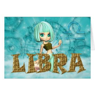 Libra Zodiac Birthday card with cutie pie Aquamari
