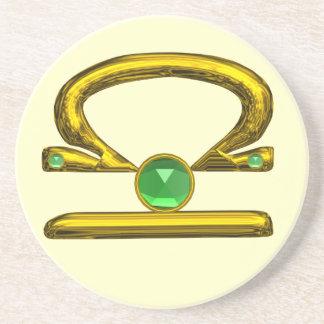 LIBRA ZODIAC BIRTHDAY JEWEL Emerald,Gold and Cream Drink Coaster