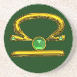 LIBRA ZODIAC BIRTHDAY JEWEL Emerald,Gold and Green Sandstone Coaster