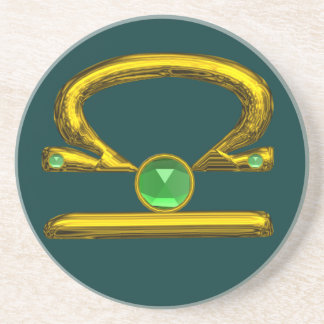 LIBRA ZODIAC BIRTHDAY JEWEL Emerald,Gold and Green Drink Coaster