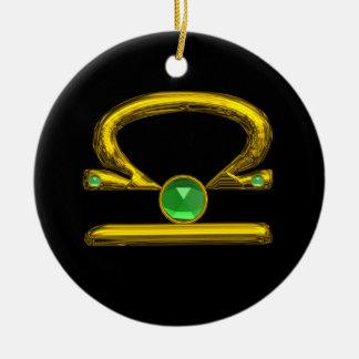 LIBRA ZODIAC BIRTHDAY JEWEL GREEN EMERALD Gold Christmas Tree Ornament