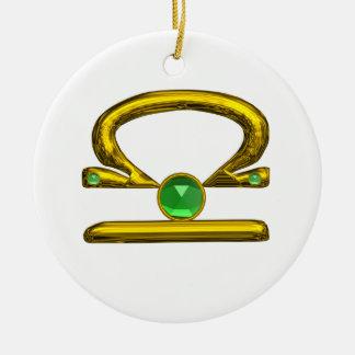 LIBRA ZODIAC BIRTHDAY JEWEL GREEN EMERALD Gold Christmas Tree Ornaments