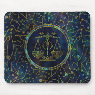 Libra Zodiac Gold Abalone on Constellation Mouse Pad