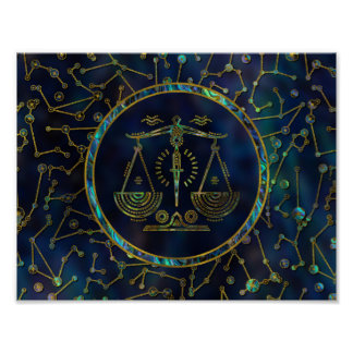 Libra Zodiac Gold Abalone on Constellation Poster