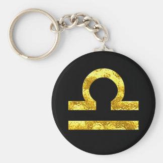 Libra Zodiac Sign Black Gold Symbol Key Ring