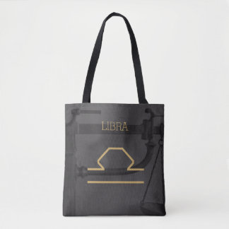 Libra Zodiac Sign | Custom Background + Text Tote Bag