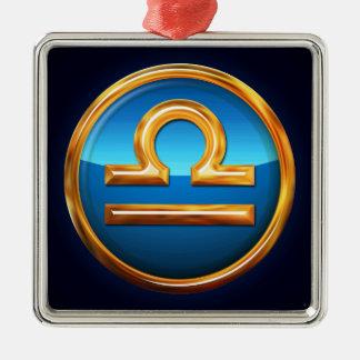 Libra Zodiac Sign Square Metal Christmas Ornament