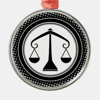 Libra Zodiac Sign. Silver-Colored Round Decoration