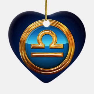 Libra Zodiac Sign Double-Sided Heart Ceramic Christmas Ornament