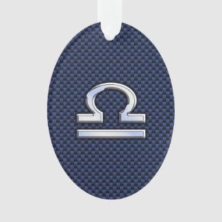 Libra Zodiac Sign on Blue Carbon Fiber Style