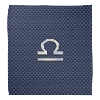 Libra Zodiac Sign on Blue Carbon Fiber Style Bandana