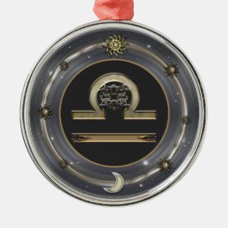 Libra Zodiac Sign Silver-Colored Round Decoration