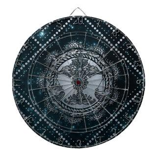 Libra Zodiac Silver Embossed on the Star sky Dartboard