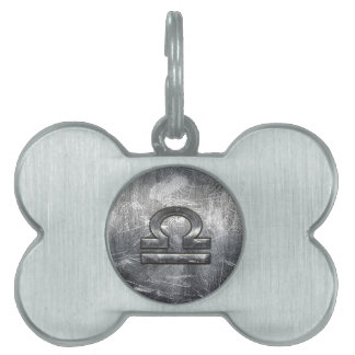 Libra Zodiac Symbol Distressed Industrial Steel Pet Tag