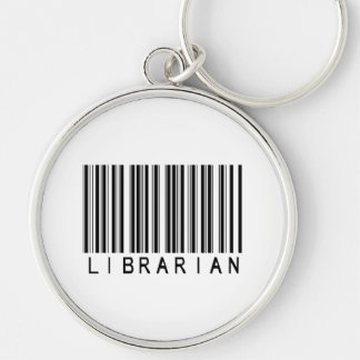 Librarian Bar Code Silver-Colored Round Key Ring