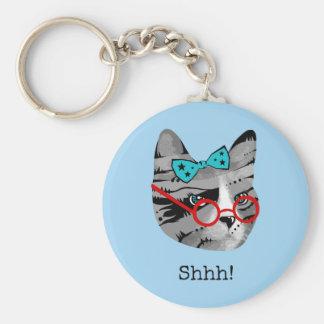 Librarian Cat Key Ring