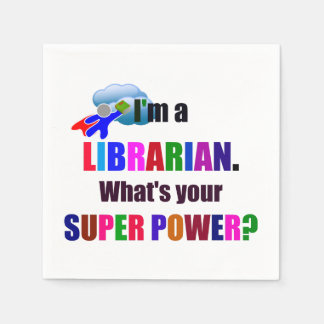 Librarian Superhero - Bold Colorful Text Design Disposable Napkins