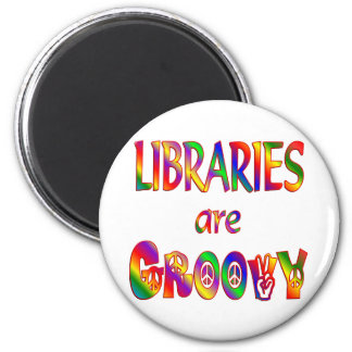 Libraries are Groovy 6 Cm Round Magnet