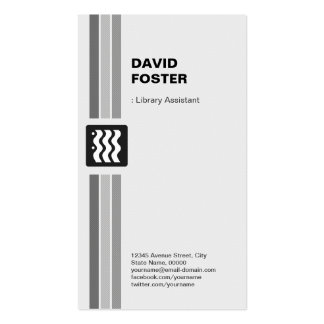 Library Assistant - Modern Black White Pack Of Standard Business Cards