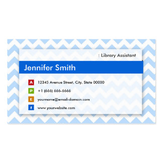 Library Assistant - Modern Blue Chevron Business Card Templates