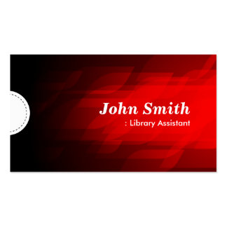 Library Assistant - Modern Dark Red Business Card Template