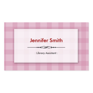 Library Assistant - Pretty Pink Squares Business Card
