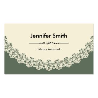 Library Assistant - Retro Chic Lace Business Card Template