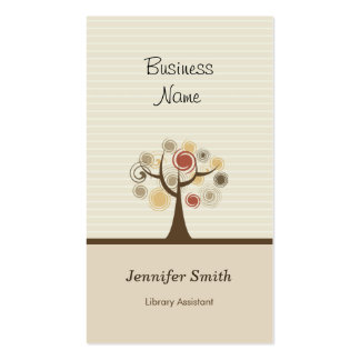 Library Assistant - Stylish Natural Theme Pack Of Standard Business Cards