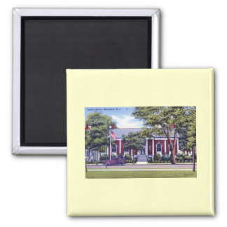 Library, Bloomfield, NJ Vintage Square Magnet